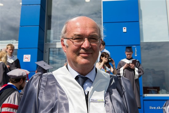 Dr. Rupert Gerzer pictured outside Skoltech at the university's graduation ceremony this summer. Photo: Sk.ru.