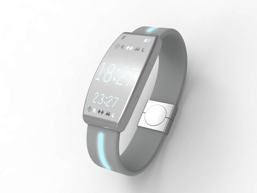 A model of the inTouch wristband, which is currently under development.