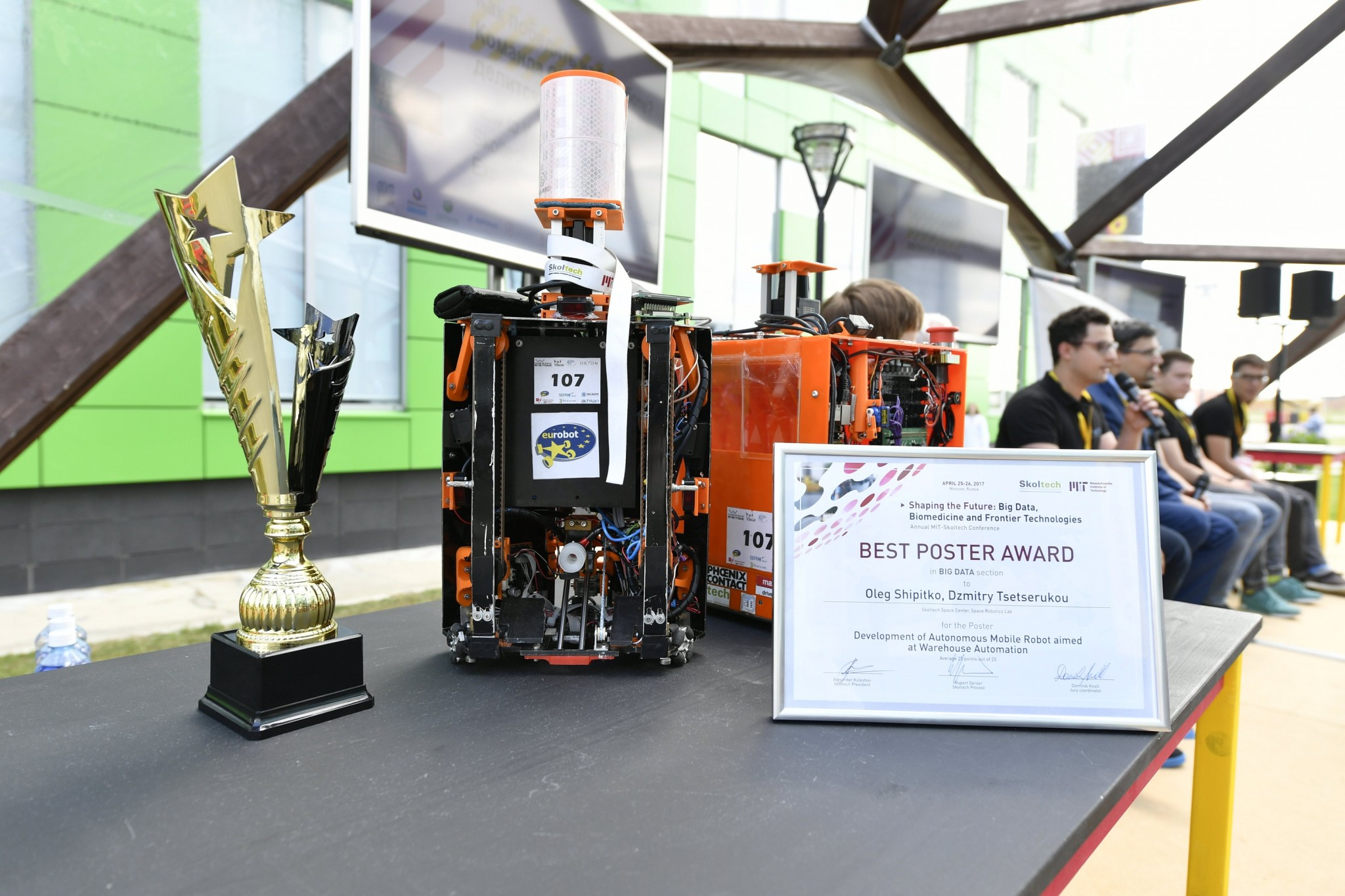 The reSET team's award-winning robots, along with various of the trophies and certificates the team has won.
