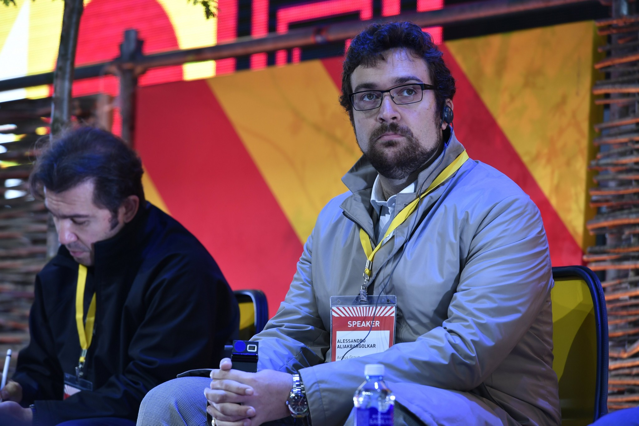 Alessandro Golkar, a Space Center professor who is currently taking a two-year sabbatical to serve as Vice President of the Concurrent Engineering, Technology Planning and Roadmapping unit of multinational aerospace and defense giant Airbus, pictured during a Startup Village panel on market competition.