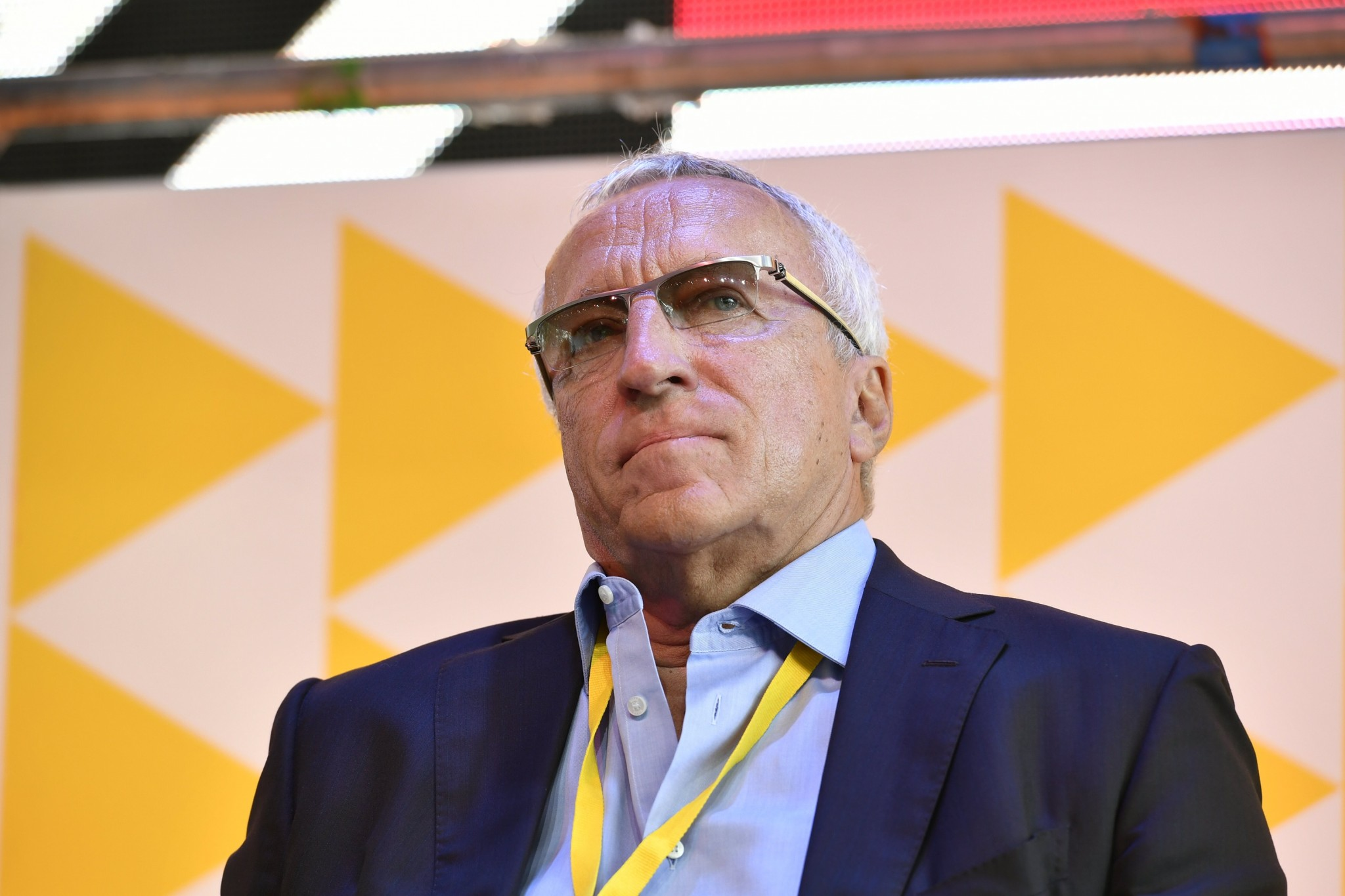 Skoltech President Alexander Kuleshov pictured during a panel at the Skolkovo Startup Village on universities of the future.