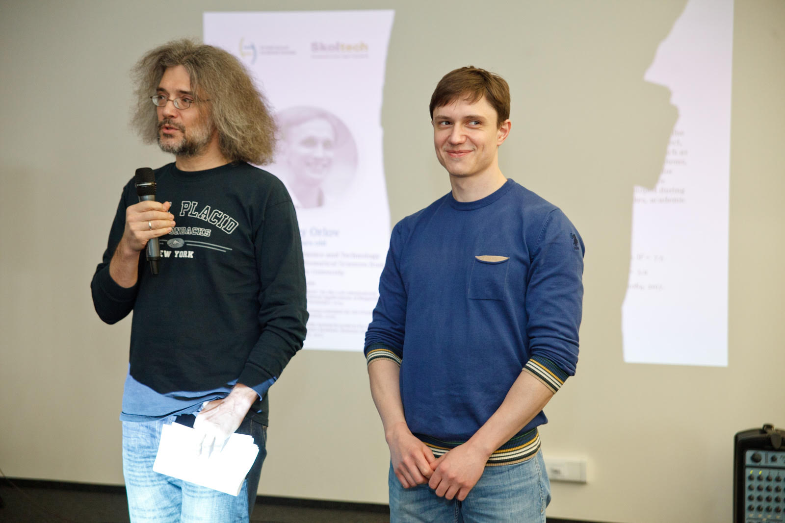 Professor Konstantin Severinov, Director of the Center for Data-Intensive Biomedicine and Biotechnology, (left) and Dmitry Svetlichnyy pictured during the 2017 Systems Biology fellowship award ceremony.