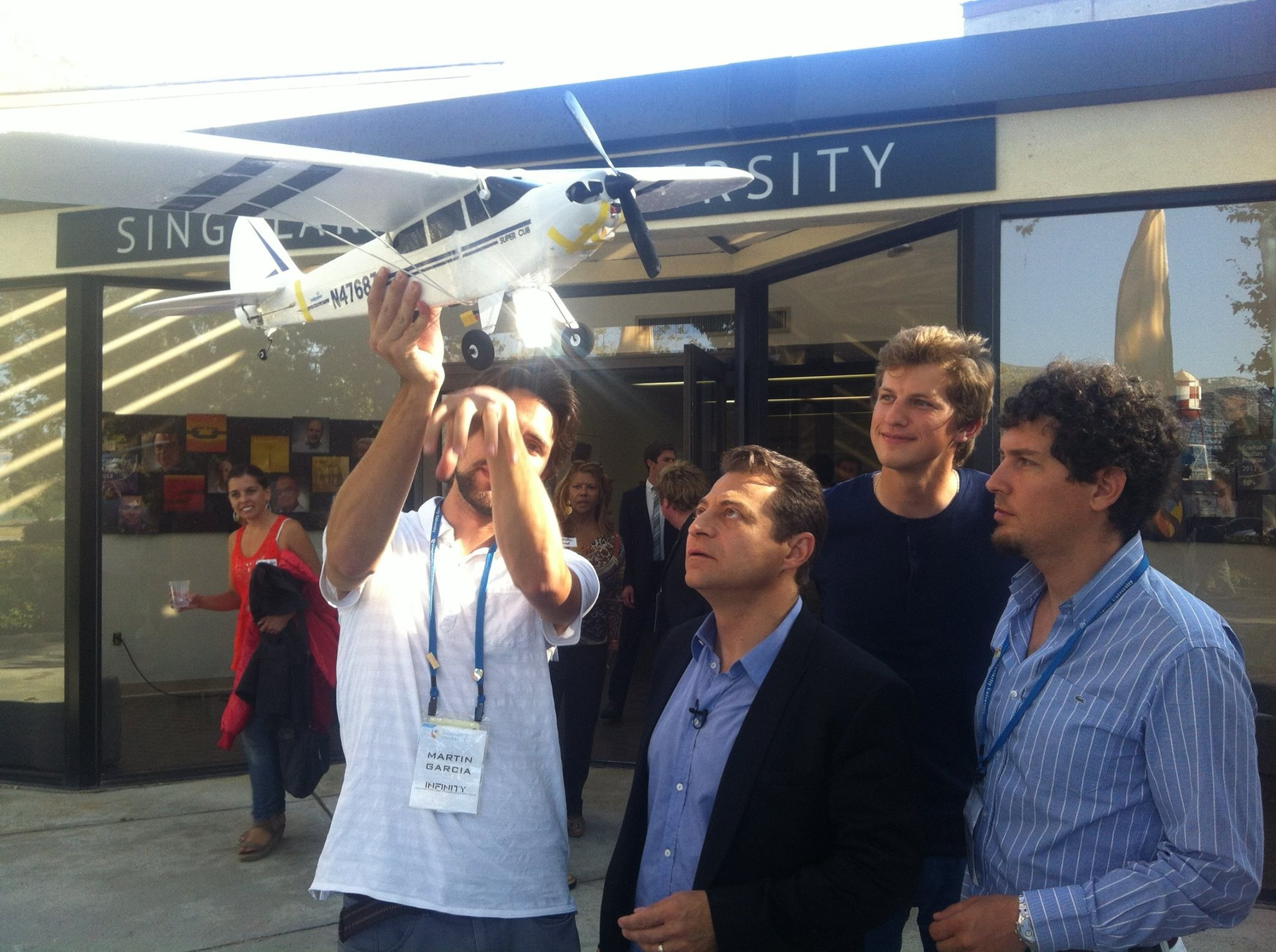 Menshenin and his team with Singularity University and XPRIZE founder Peter Diamandis (second from left). Photo: Yaroslav Menshenin // Skoltech.