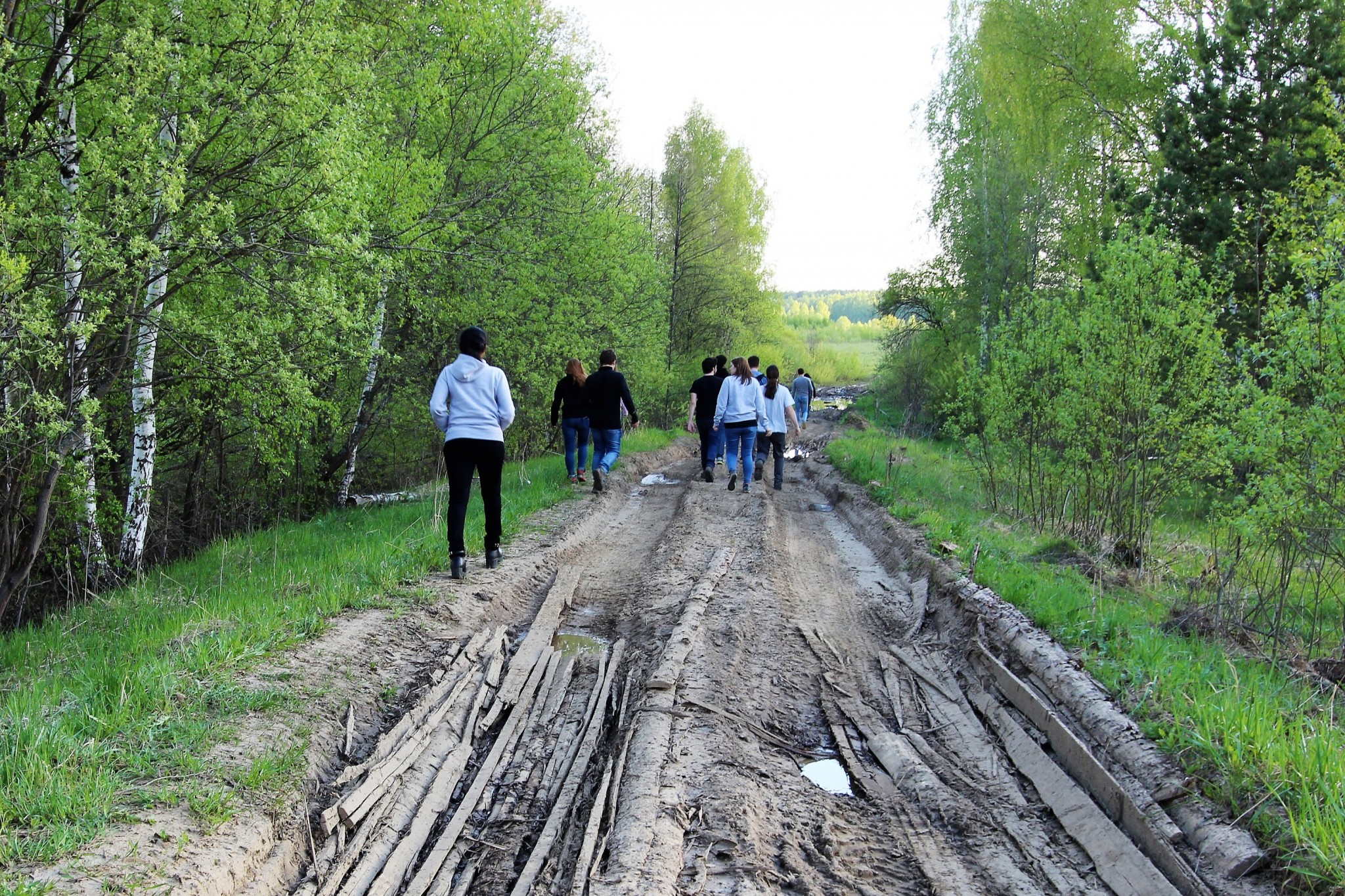 After the payloads landed, the students tracked them using GPS to a forested expanse in the Ivanovo Region. Nearby road conditions prevented the vans from driving the whole distance, so the teams walked the rest of the way by foot. Photo: Skoltech.