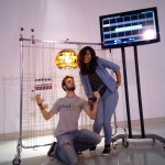 Skoltech MSc students Anton Krotov and Laura Elidedt Rodriguez pose with a lamp that was built as part of their bioart project at the Sirius Center for Gifted Education. Photo: Anton Krotov // Skoltech.