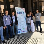 Members of Skoltech's nanomaterials lab at the conference, including (from left) Vsevolod Iakovlev, Vladislav Kondrashov, Professor Albert Nasibulin, Anastasia Goldt, Daria Kopylova and Alexey Tsapenko.