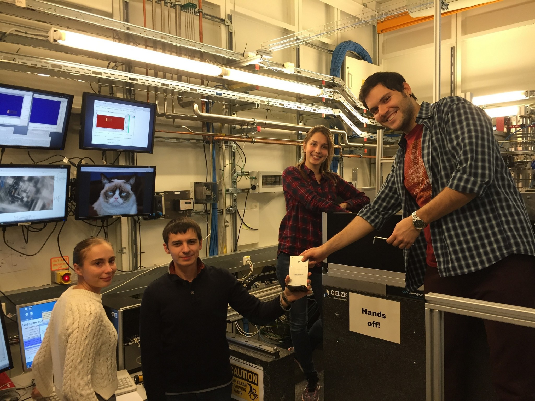 Ismailova and her colleagues working at the synchrotron at the DESY Hamburg, Germany. Photo: Leyla Ismailova // Skoltech.