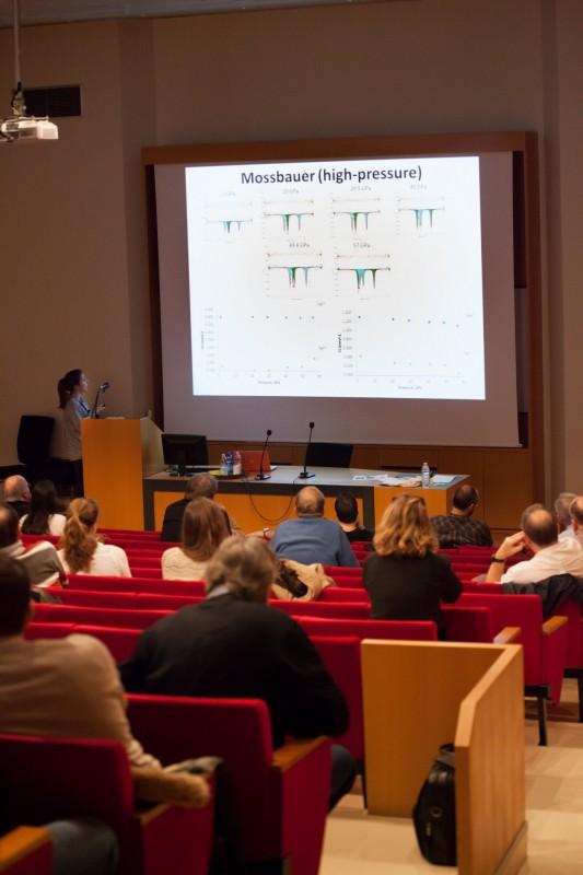 Ismailova delivering a presentation on the International Diamond School at Bressanone-Brixen, Italy. Photo: Leyla Ismailova // Skoltech.