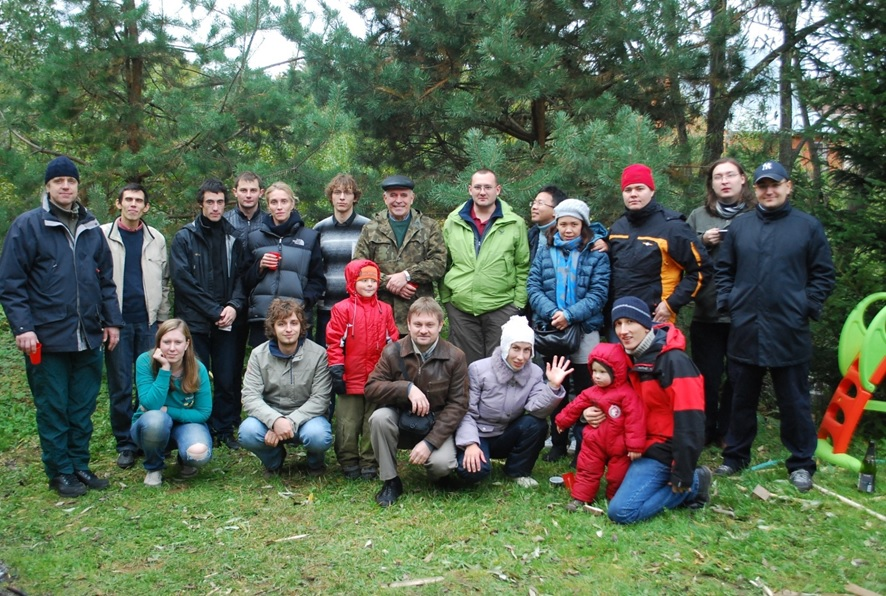 Evgeny pictured with his family and students at his country home near Moscow. Photo: Evgeny Nikolaev.