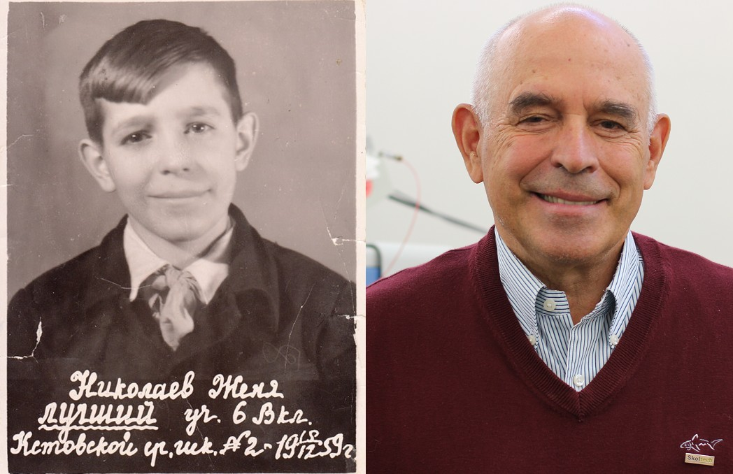 Skoltech Professor Evgeny Nikolaev, pictured as a schoolkid (left) and now. Photos: Evgeny Nikolaev and Skoltech.