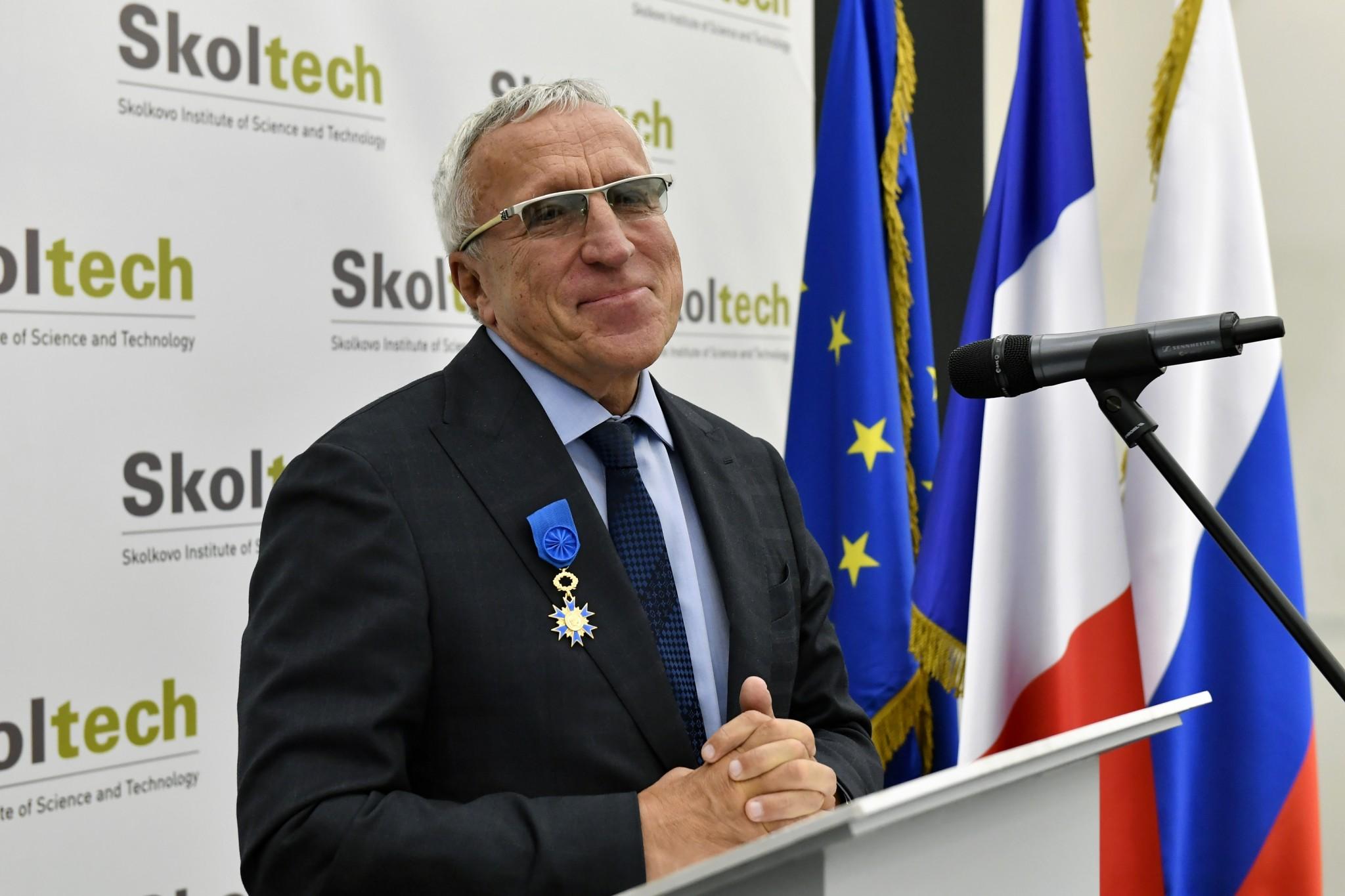 President Alexander Kuleshov at the award ceremony. Photo: Skoltech.