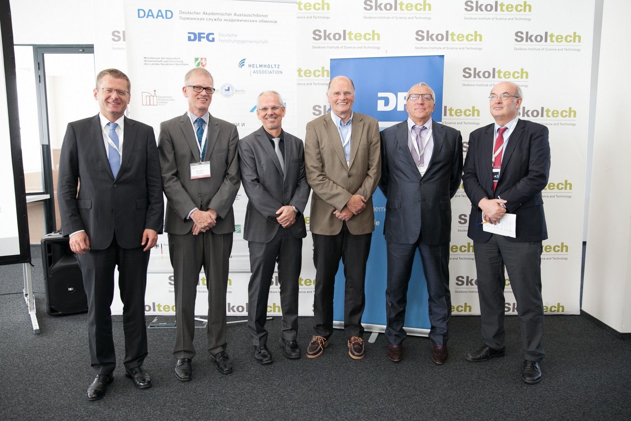 Some of the event's organizers and key participants, including, from left, Thomas Graf, Head of the Department for Economy and Science, Embassy of the Federal Republic of Germany in Moscow; Ulrich Grothus, Deputy Secretary General of the DAAD; Professor Dr. Frank Allgöwer, Vice President of the DFG; academic program coordinator and Technical University of Munich Professor Dr. Werner Mewes; Skoltech President Alexander Kuleshov and Skoltech Provost Rupert Gerzer. Photo: DFG.