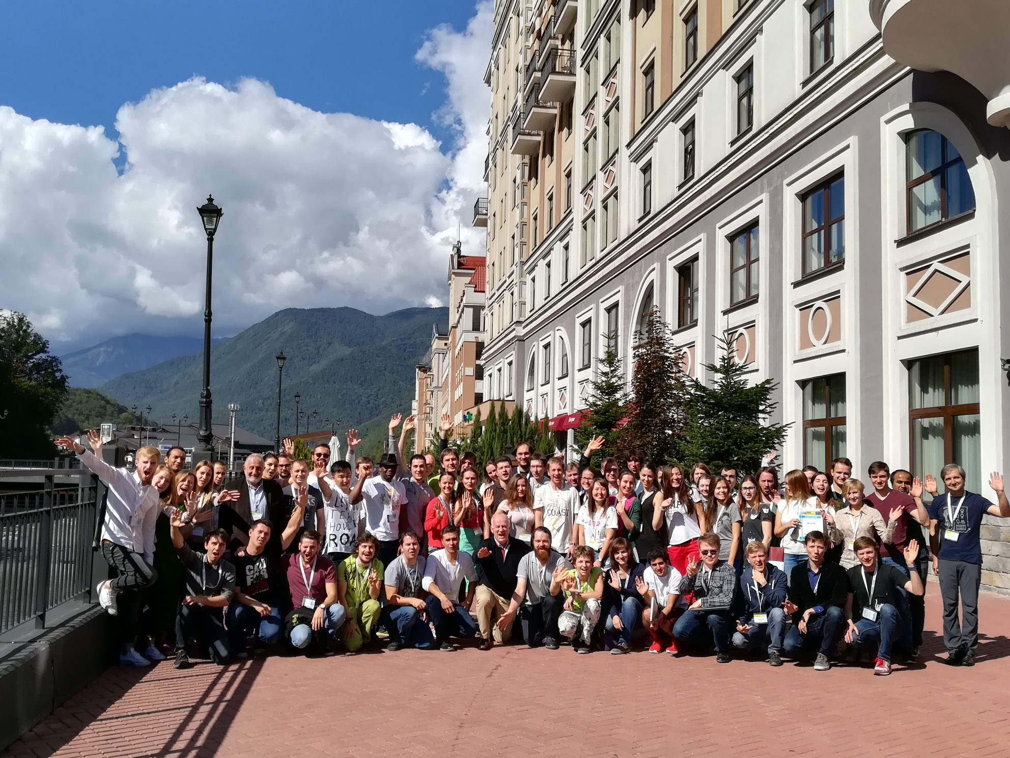 Participants in Skoltech's Gen-Y conference pose for a group photo in gorgeous Rosa Khutor. Photo: Skoltech.