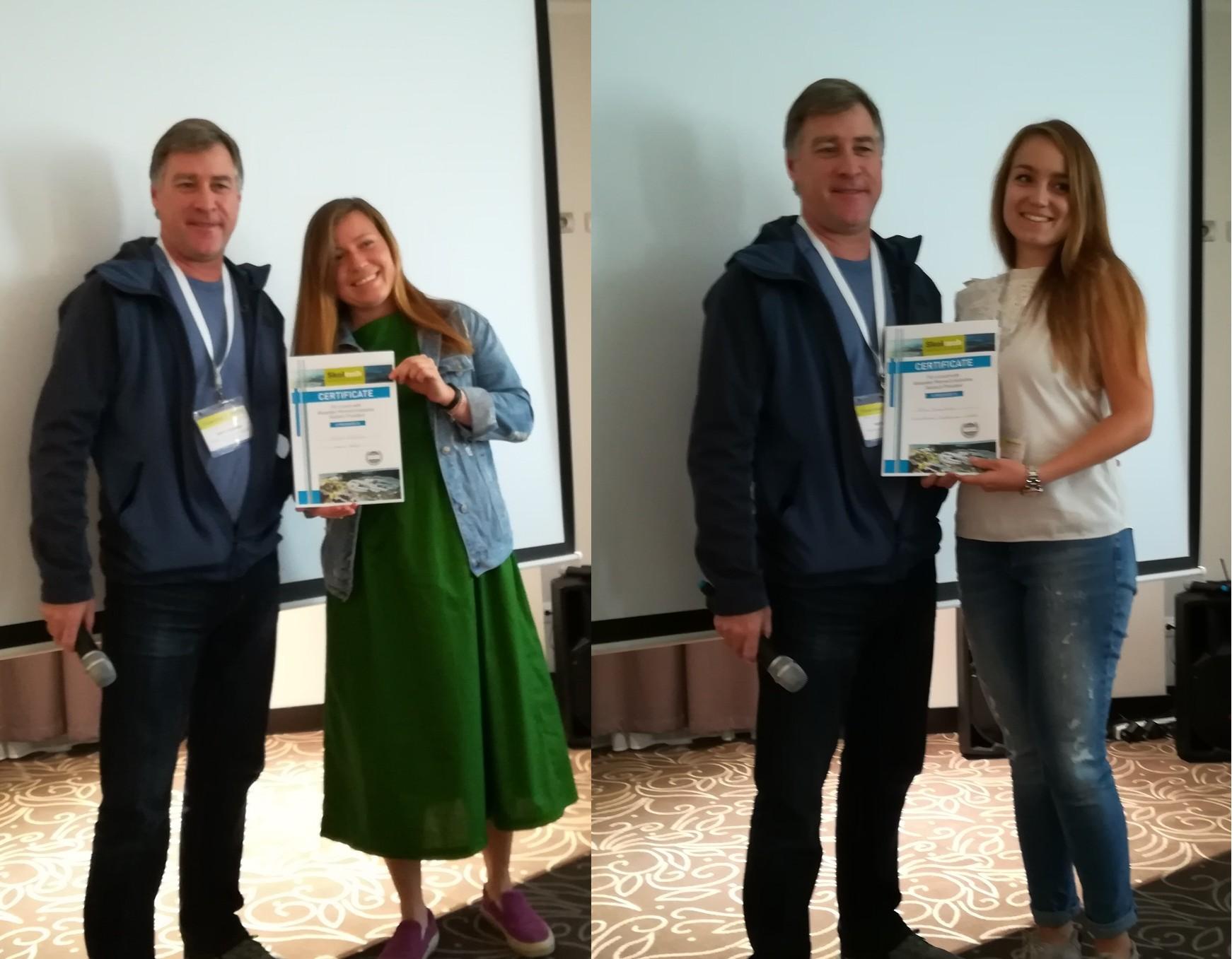Poster session winners Yulia Naraykina and Natalia Glazkova pose with Professor Keith Stevenson. Photo: Skoltech.