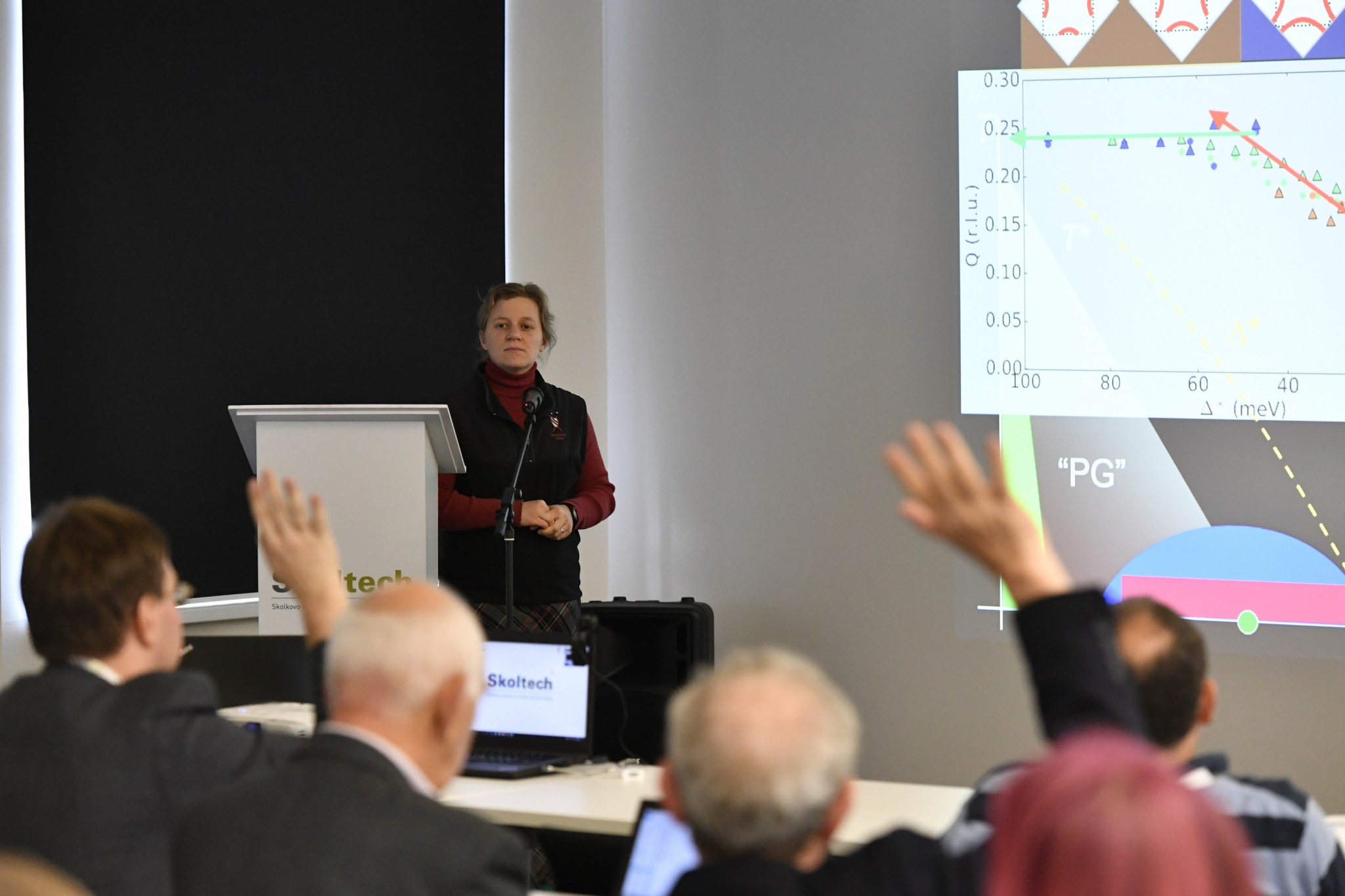Harvard Professor Jenny Hoffman taking questions after her talk at the symposium. Photo: Skoltech.