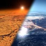 An artistic rendering of what Mars may have looked like billions of years ago. The Red Planet is thought at one point to have been blanketed with oceans and massive lakes. Image: NASA's Goddard Space Flight Center.