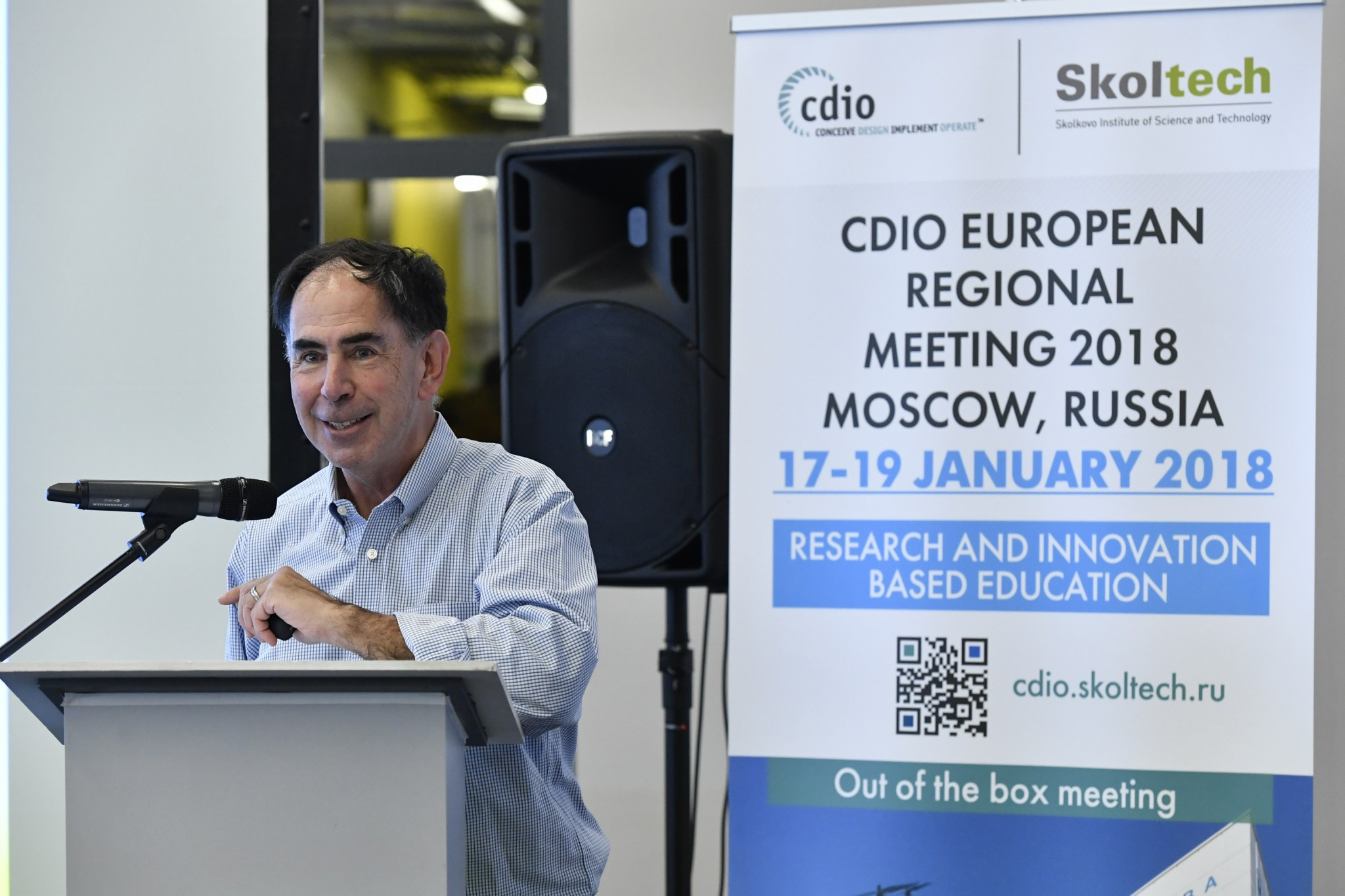 MIT Professor and CDIO Co-Founder Edward Crawley speaks before a rapt audience. Photo: Skoltech.
