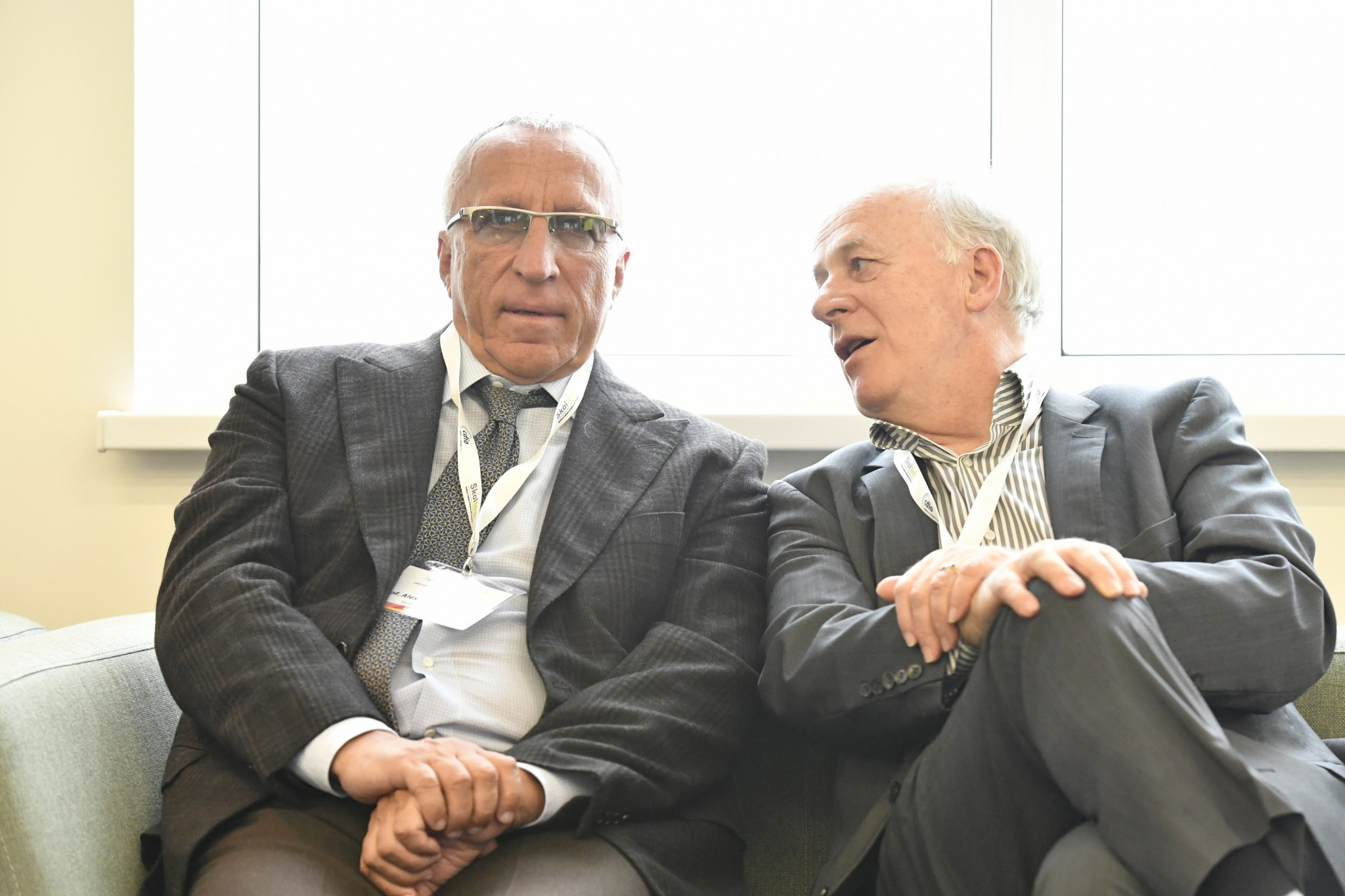 Skoltech President Alexander Kuleshov and Professor Clement Fortin share a chat on the sidelines of the CDIO meeting. Photo: Skoltech.