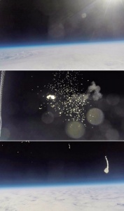 On the edge of space (from top) 1 a view of the atmosphere 2 stratospheric balloon's rupture 3 experimental platform falls down to Earth