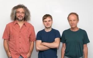 Sergey Shmakov (in the middle) and his supervisors Konstantin Severinov (left) and Eugene Koonin (right)