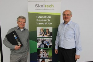 Gerzer pictured with German astronaut Dr. Reinhold Ewald, who gave a lecture to Skoltech students earlier this year.