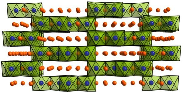 Рисунок 2. Кристаллическая структура каркасного катодного материала b-Li2IrO3.