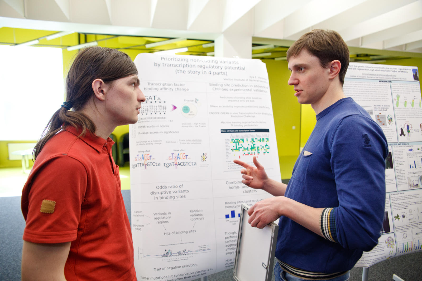 PhD student Ilya Vorontsov and postdoctoral researcher Dmitry Svetlichnyy pictured at Skoltech.