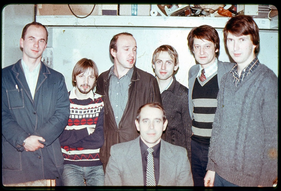 Nikolaev (front, center) pictured with some of his students in the 1990s. Photo: Evgeny Nikolaev.