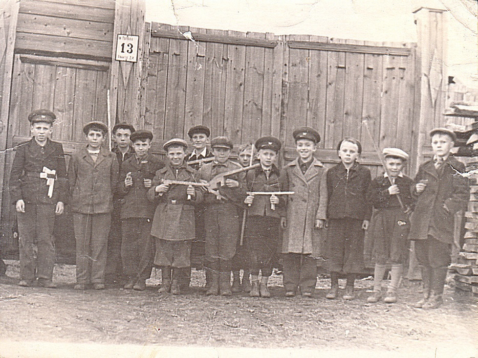 Peaceful from the very start: Nikolaev, second from the left, pictured as a young boy with his neighborhood friends in the early 1950s. Unlike most of the others, he wasn't sporting a home-made toy gun. Photo: Evgeny Nikolaev.