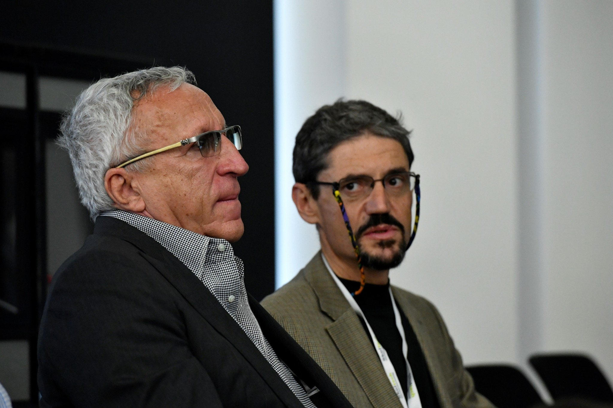 Skoltech President Alexander Kuleshov (left) and Professor Mikhail Chertkov pictured during the conference. Photo: Skoltech.
