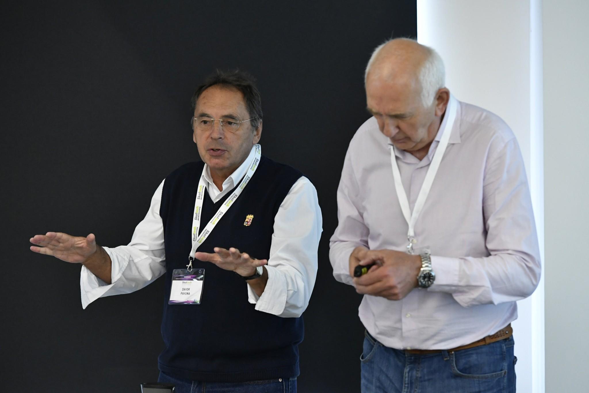École polytechnique fédérale de Lausanne Professor Davor Pavuna (left), alongside  Professor Sergey Ovchinnikov of the Russian Academy of Sciences. Photo: Skoltech.