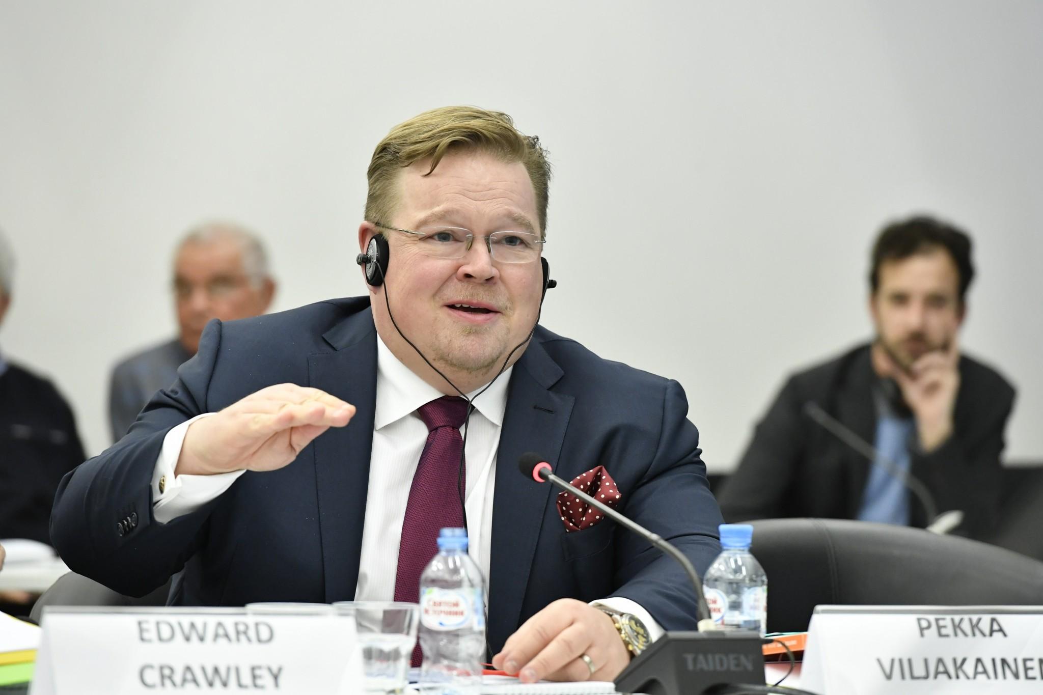 Pekka Viljakainen, Senior Advisor to Skolkovo Foundation President Victor Vekselberg, takes the floor. Photo: Skoltech.