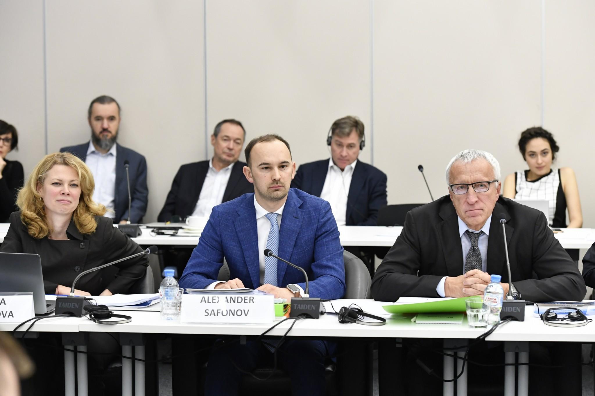 Members of Skoltech's senior leadership, including, from left, Finance Director Tatiana Zakharova, Vice President for Academic Development Alexander Safonov and President Alexander Kuleshov. Photo: Skoltech.