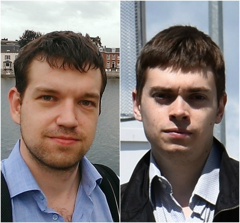UMNIK grant winners Alexander Kvashnin and Artem Isaev. Photos: Skoltech.