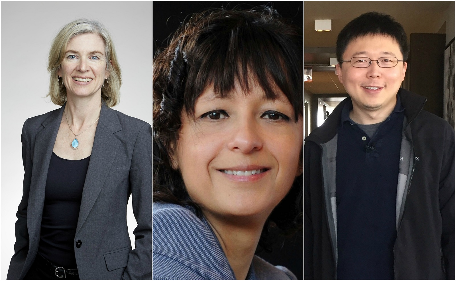 CRISPR pioneers (from left) Professors Jennifer Doudna, Emmanuelle Charpentier, and Feng Zhang, who spoke highly of the Skoltech/Visual Science video. Photos: Wikipedia.