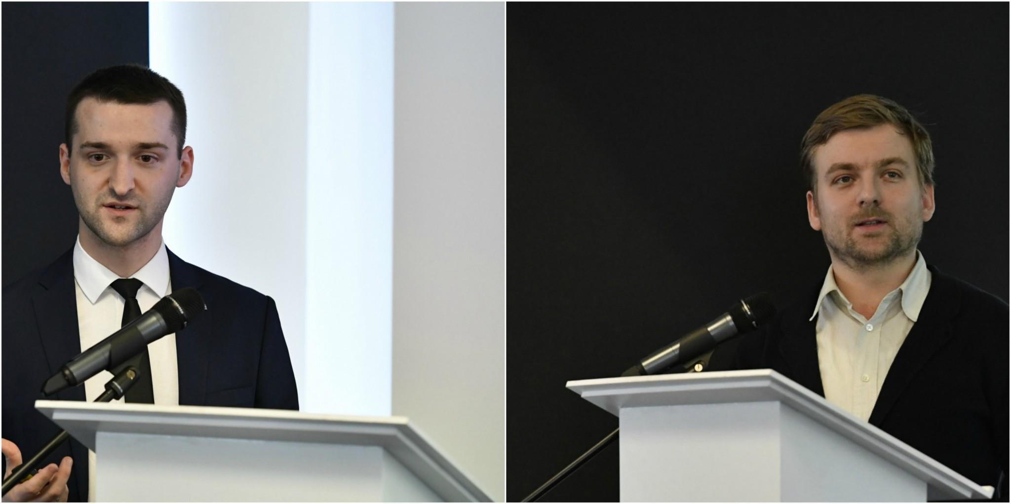 Maxim Simonov and Dmitry Schwartz deliver speeches during the event. Photographs: Skoltech.