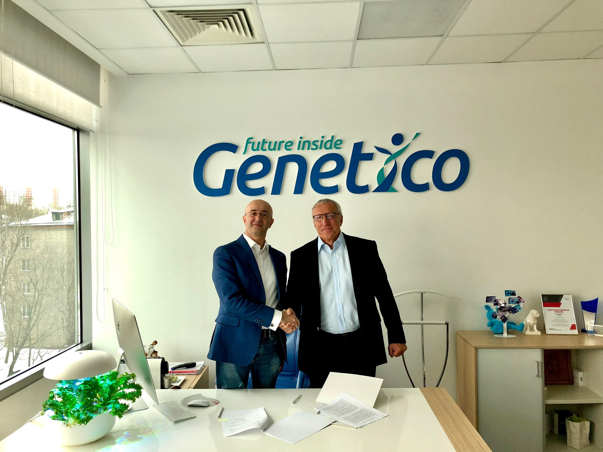 President of Genetico Artur Isaev (left) and Skoltech President Alexander Kuleshov pictured at the signing event. Photo: Skoltech.