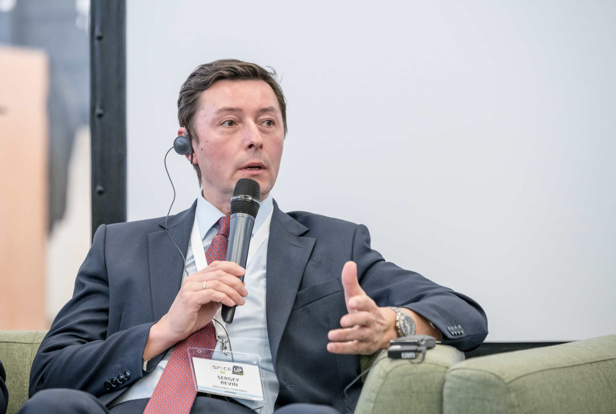 Сергей Ревин на панельной дискуссии в рамках антиконференции SpaceUp в Сколтехе. Фото: Тим Сабиров // Сколтех.