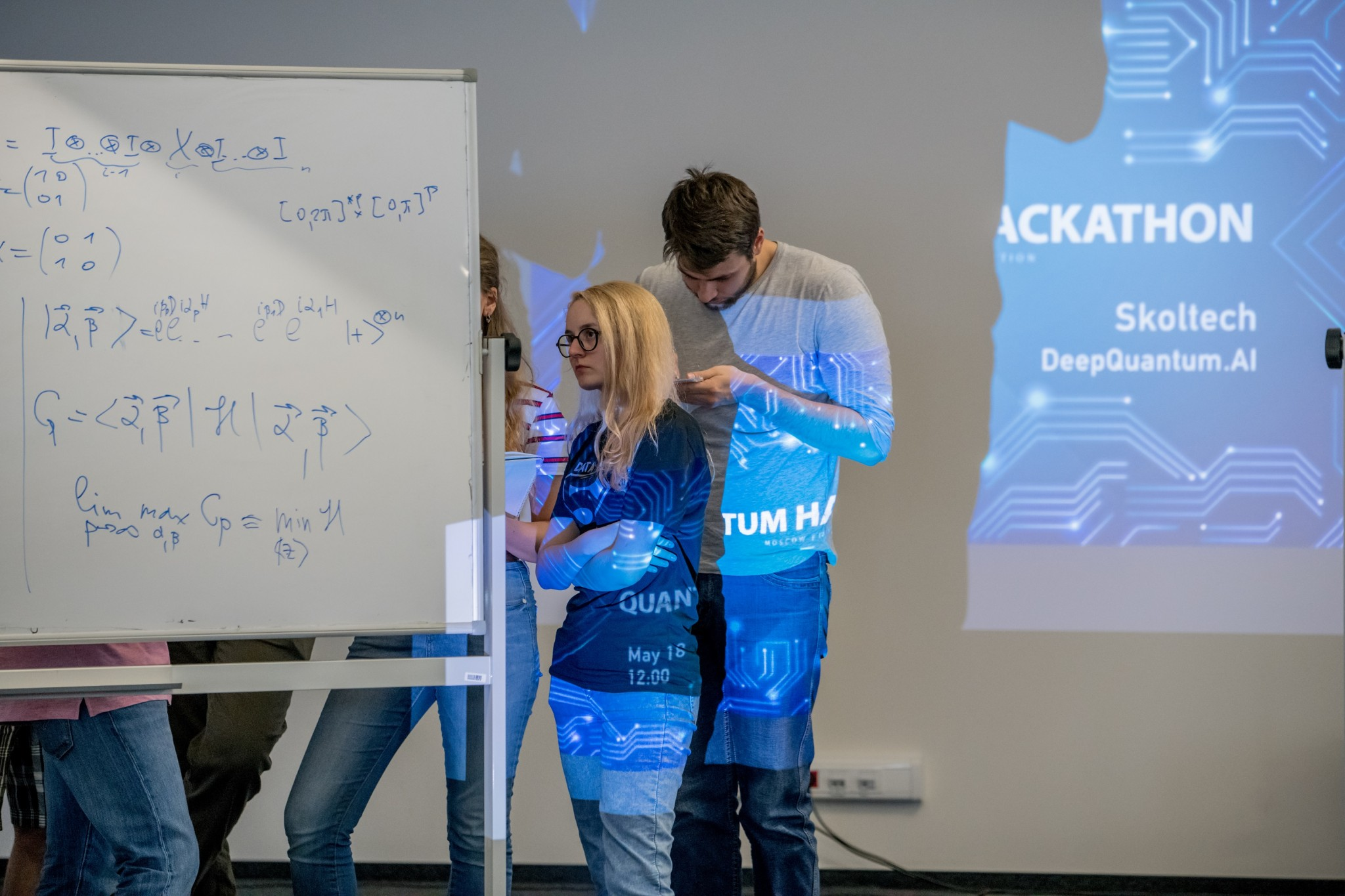 Participants in the hackathon grapple with a problem. Photo: Tim Sabiroff // Skoltech.