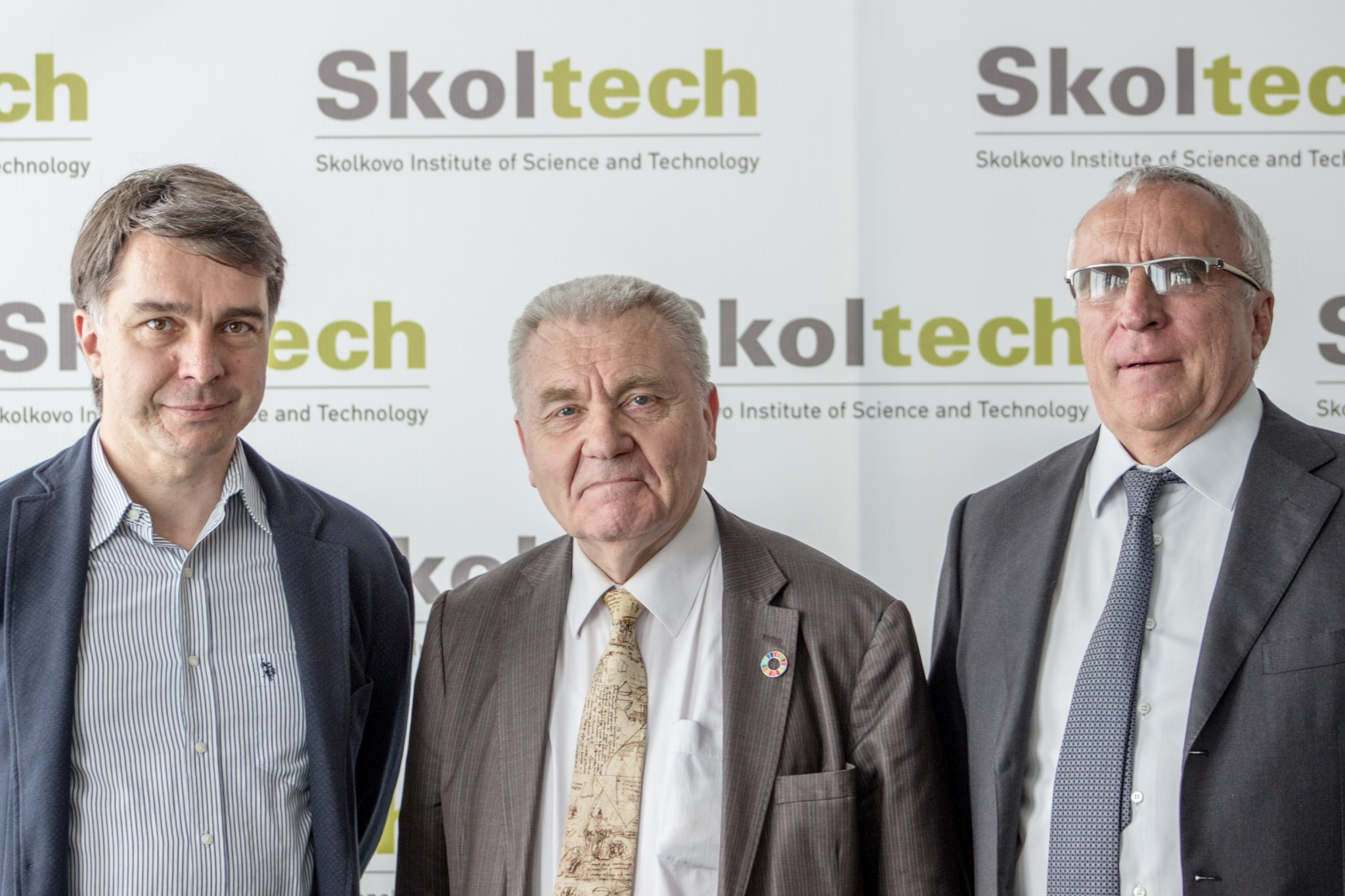 From left: Stanislav Smirnov, Jean-Pierre Bourguignon and Alexander Kuleshov. Photo: Tim Sabiroff // Skoltech.