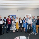 All of the talented competitors following the competition. The three winners are pictured holding their award certificates, including Natalia Glazkova and Dmitry Smirnov (left) and Ksenia Scherbakova (center). Photo: Skoltech.
