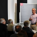 Igor Krichever, Director of Skoltech's Center for Advanced Studies, leads a session at a conference in honor of iconic mathematician Victor Buchstaber. Photo: Skoltech.