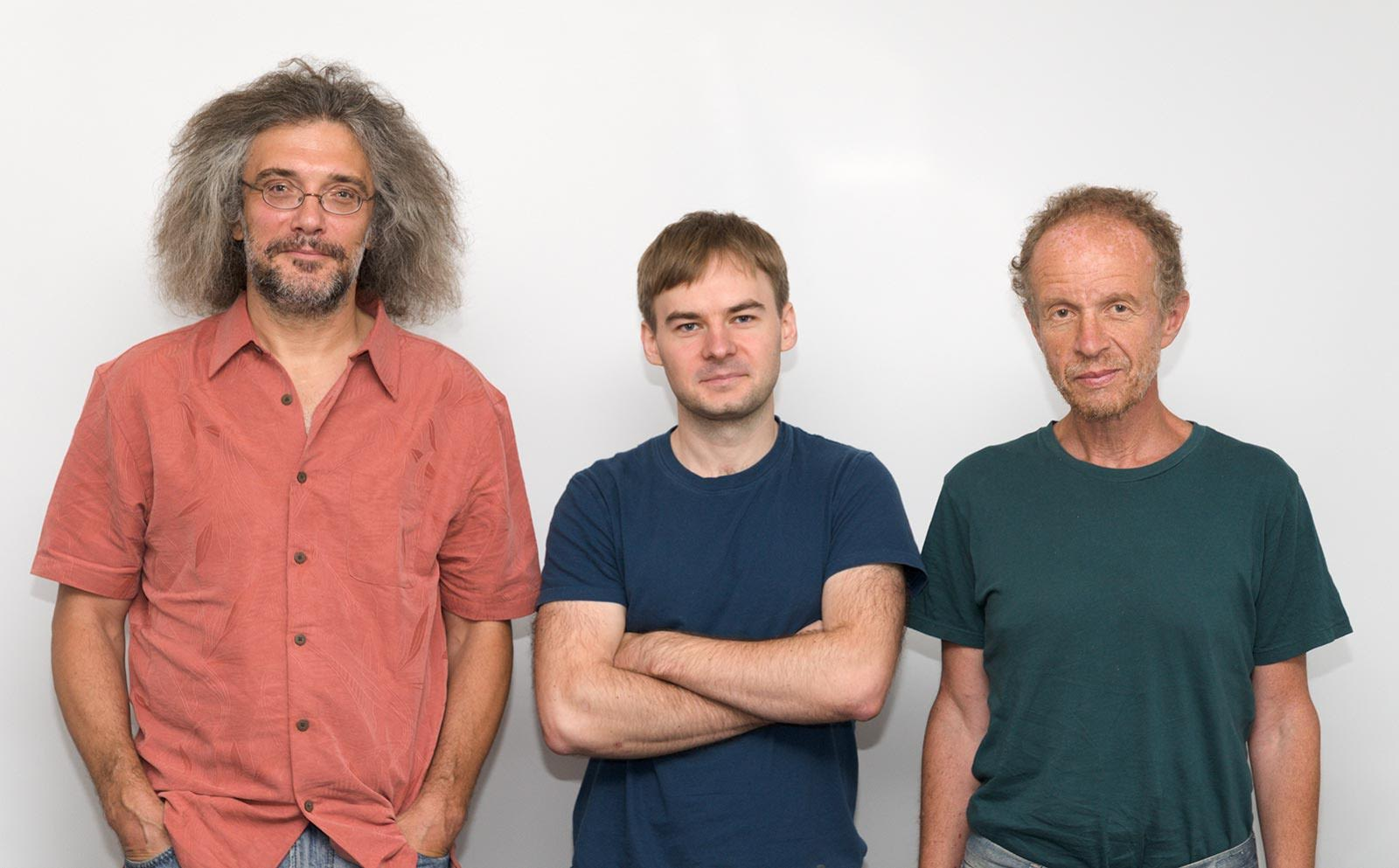 Sergey Shmakov (center) and his supervisors Konstantin Severinov (left) and Evgeny Kunin (right). Photo: Skoltech.