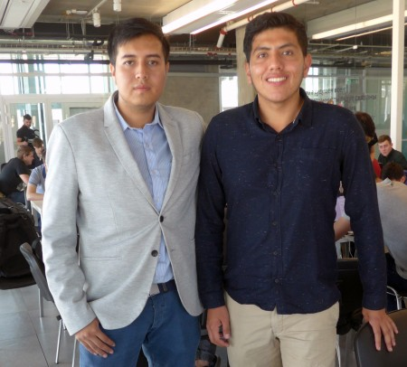 Jonathan Tirado, left, and Juan Esteban Heredia Mena are from Ecuador, where they studied at the National Polytechnic University.