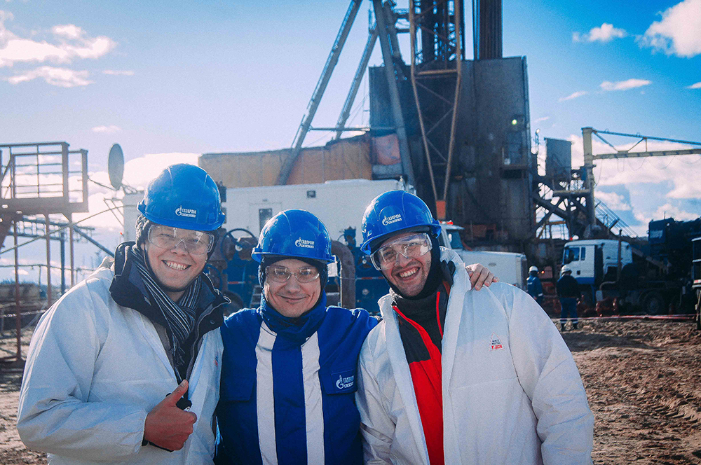 Left to right: Prof. A.Osiptsov, Grigory Paderin (Gazpromneft STC) and A.Vainshtein.