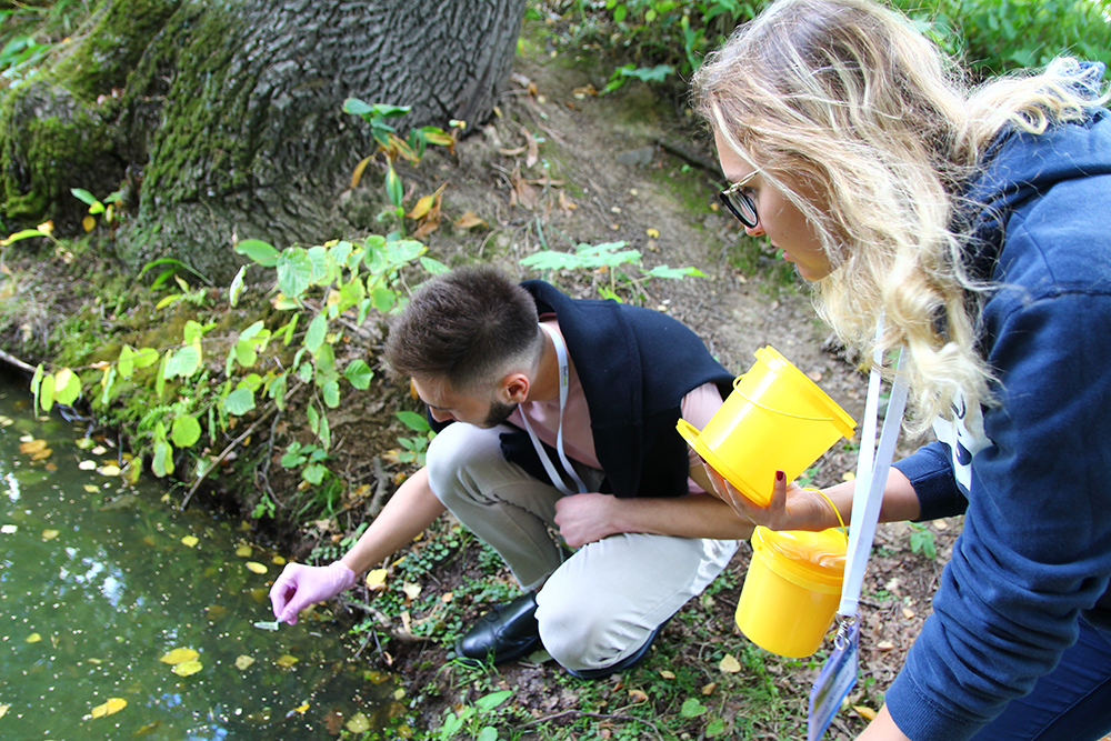 Picking water samples from the pond near Mendeleev's Quarter. Photo: Yulia Gordeeva.