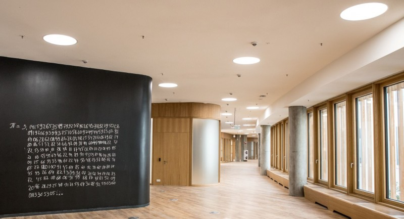 The new purpose-built campus features numerous collaborative spaces, including these areas in the facility's outer ring. Photo by Timur Sabirov / Skoltech