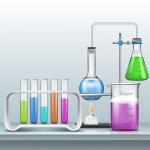 Chemical laboratory experiment cartoon vector