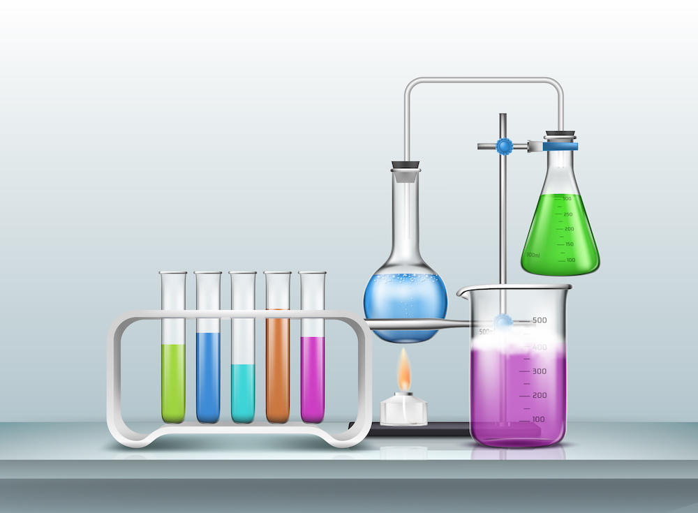 Chemical laboratory experiment cartoon vector