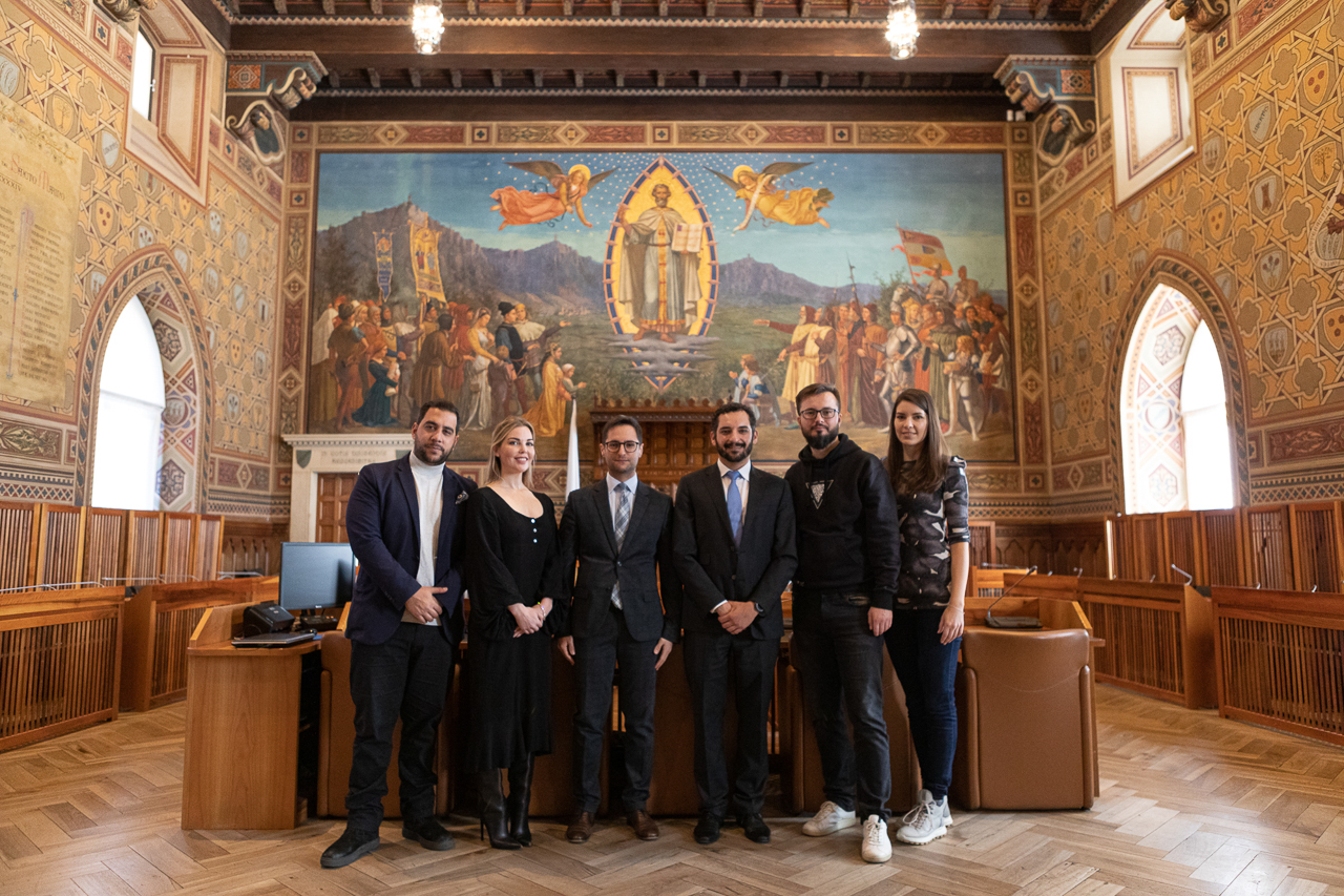 – In the parliament, Ellen Quirk Founder & CEO of Kismet Impact Capital, Fabio Righi, the Minister of Industry and Technological Research, Samor Mastaki, CEO Nuland, Zeljko Tekic, Skoltech professor, Anja Tekic; At the parliament of the Republic of San Marino